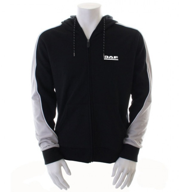 DAF Hooded Zipped Jumper_Black and Grey - Image 1